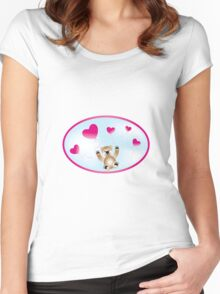 Teddy with heart-balloons Women's Fitted Scoop T-Shirt