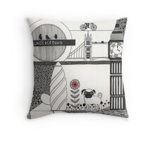 Pug in the city Throw Pillow