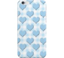 Blue Gingham lovehearts (Digital composition) wallpaper warped iPhone Case/Skin