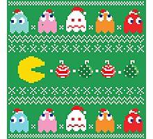 Get Ready! Christmas Pac-Man (GREEN) Photographic Print