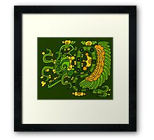 Feather serpent exhaling breath elements Framed Print