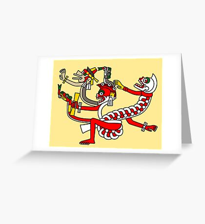 Red aztec Monster - Codex Laud 44 Greeting Card