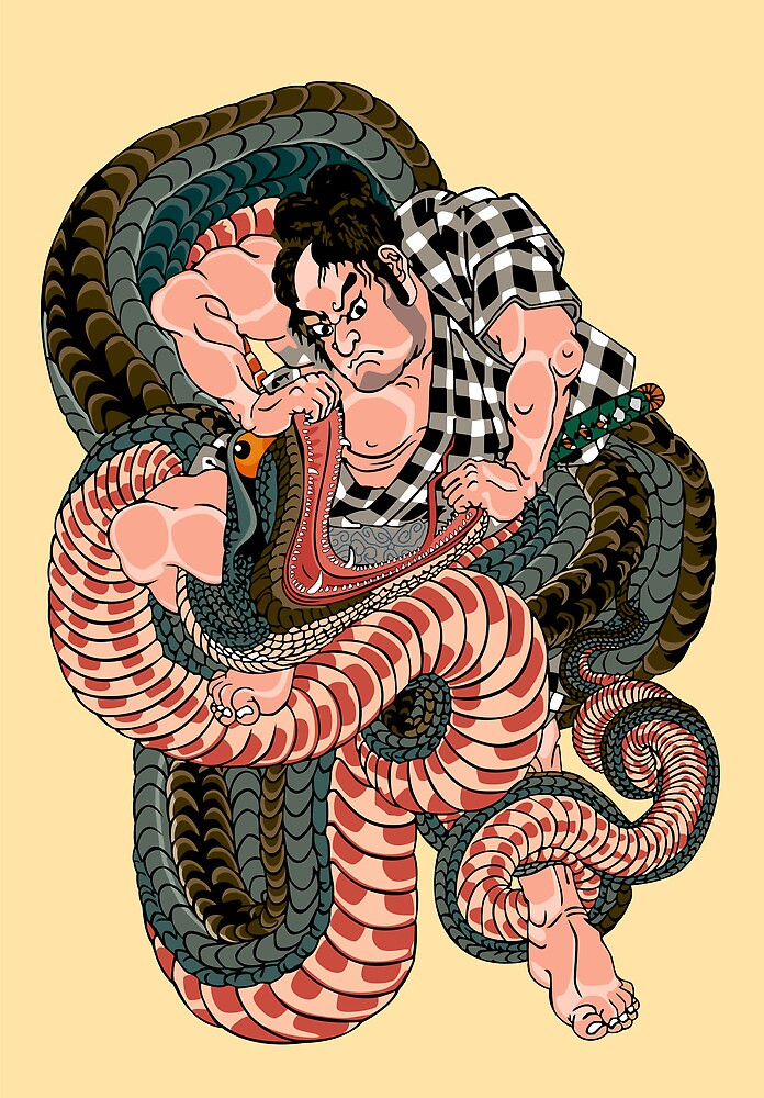 Sagino-ike Heikuro grappling with a huge serpent at the lake of Sayama - Ichiyusai Kuniyoshi  by Gwendal