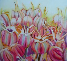 Allium flower, mixed media on canvas by Sandrine Pelissier