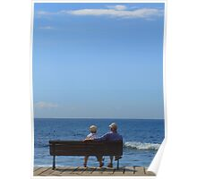 Couple looking at the Sea Poster