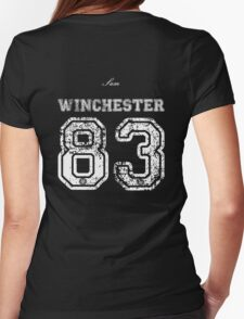 Team Sam Winchester white letters Womens Fitted T-Shirt