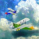 Vintage Biplanes Soaring Through the Clouds - graphic T-shirt, etc. design by Dennis Melling