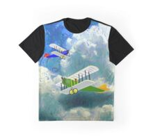 Vintage Biplanes Soaring Through the Clouds - graphic T-shirt, etc. design Graphic T-Shirt
