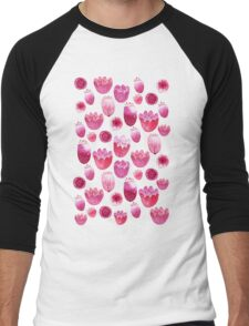 Fancy Pink Flowers Men's Baseball ¾ T-Shirt