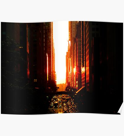 Manhattanhenge Sunset - Times Square - New York City Poster