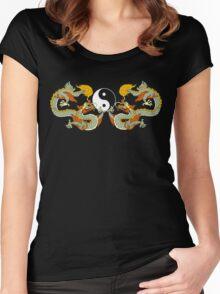 Yin Yang Dragon Black T-Shirt Women's Fitted Scoop T-Shirt