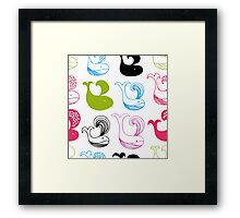 Funny whales silhouettes Framed Print