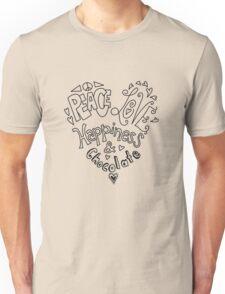 Peace, Love, Happiness & Chocolate Unisex T-Shirt