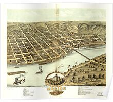 Panoramic Maps Bird's eye view of the city of Moline Rock Island County Illinois 1869 Poster