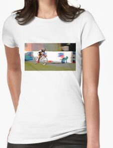 Cyclist chasing shadow Womens Fitted T-Shirt