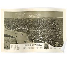 Panoramic Maps Perspective map of Sioux City Iowa 1888 Poster