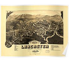Panoramic Maps Bird's eye view of the village of Lancaster Coos County NH 1883 Poster