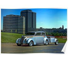 1937 Ford Sedan Hot Rod with matching Trailer Poster
