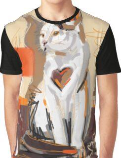 Cat big heart Graphic T-Shirt