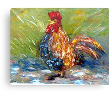 Amazed Rooster Canvas Print