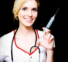 Smiling female doctor with big syringe by Ryan Jorgensen