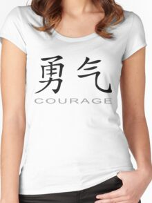 Chinese Symbol for Courage T-Shirt Women's Fitted Scoop T-Shirt