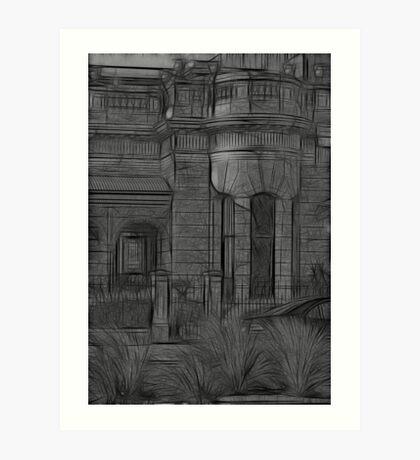 Creepy Beach House - (Desaturated HDR, and Fractalius) Art Print