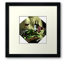 Pluribus Wine in Octagon Framed Print