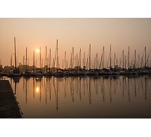 Pale Pastel Sunrise with Yachts Photographic Print
