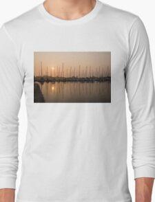 Pale Pastel Sunrise with Yachts Long Sleeve T-Shirt