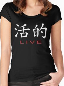 Chinese Symbol for Live T-Shirt Women's Fitted Scoop T-Shirt