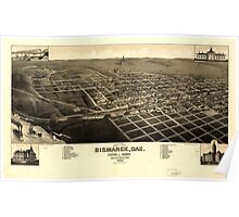 Panoramic Maps View of the city of Bismarck Dak Capital of Dakota and county-seat of Burleigh-County 1883 Poster