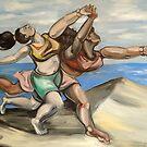 Modern Women Running On The Beach by Ellen Marcus