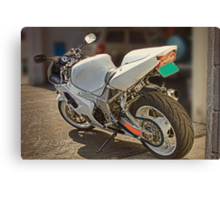 Really cool white motorcycle Canvas Print