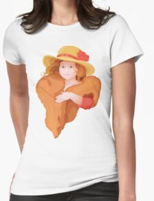 portrait of girl in retro style dressing with hat and fur in warm colors Womens Fitted T-Shirt