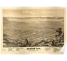 Panoramic Maps Bird's-eye view of Brigham City and Great Salt Lake Utah Ty 1875 Poster