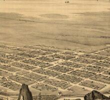 Panoramic Maps Bird's-eye view of Brigham City and Great Salt Lake Utah Ty 1875 Sticker