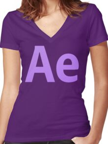 After Effects CS6 Letters Women's Fitted V-Neck T-Shirt