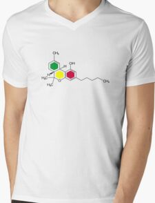 THC Molecules (cannabis marijuana) Mens V-Neck T-Shirt