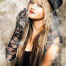 Female retro pinup model with smoke by Ryan Jorgensen