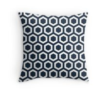Navy Hexagons Throw Pillow