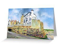 The Bay Hotel, Robin Hoods Bay, North Yorkshire Coast Greeting Card