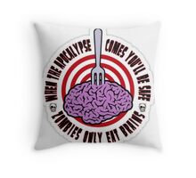 zombie only eat brains Throw Pillow