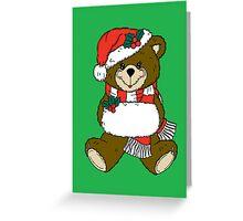 Festive Teddy Bear by Chillee Wilson Greeting Card