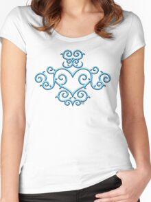 Blue Glow Victorian Tribal Heart Women's Fitted Scoop T-Shirt