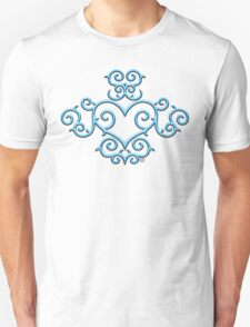 Blue Glow Victorian Tribal Heart Unisex T-Shirt