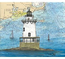 Conimicut Lighthouse RI Nautical Chart Cathy Peek Photographic Print