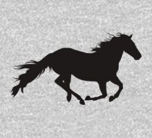 horse in black silhouette galloping fast by nadil