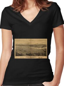 Panoramic Maps Portland Oregon Women's Fitted V-Neck T-Shirt