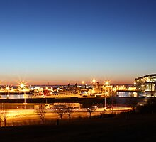 Midnight Sunset at Reykjavik Docks and Opera House by darakibr